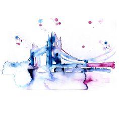 London - Abstract watercolor painting - Tower bridge - 13x19 ORIGINAL