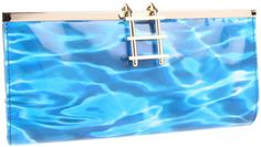 NWT Kate Spade Pool Party Pool Clutch Waterprint Faux Patent Beach Bag Purse #katespade #Clutch