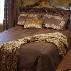 Gold Rush Bedding  by Carstens   A western bedding set in a palette of chocolate brown with leopard spot accents, the Carstens Gold Rush bedding ensemble will turn any bedroom in to a soothing western inspired sanctuary but with a leopard print twist.