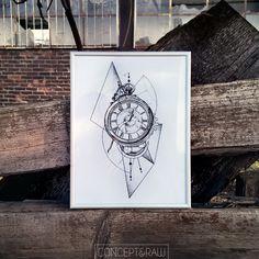 Clock pocket watch dotwork tattoo