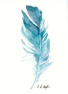 Original watercolor feather painting blue teal bird feather art wall art home decor 50 kitchen cabinet ideas that ll elevate your kitchen Watercolor Feather, Feather Painting, Feather Art, Bird Feathers, Watercolour Painting, Watercolor Flowers, Painting & Drawing, Painting Inspiration, Art Drawings