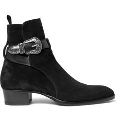 SAINT LAURENT Leather-Trimmed Suede Jodhpur Boots.  saintlaurent  shoes   boots Mode 087130f1864