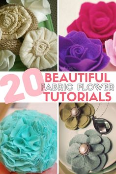 How to make 20 Different Beautiful Fabric Flowers, great for Tissue Paper Flowers, Diy Flowers, Fabric Flowers, Felt Flowers, Flower Crafts, Mason Jar Crafts, Mason Jar Diy, Easy Diy Crafts, Handmade Crafts