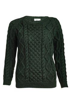 Roxie Green Wool Aran Jumper