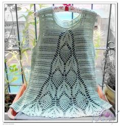 Pineapple Crochet Sleeveless Tunic - Free Crochet Diagram - (mizrah)