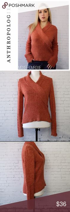 """Anthropologie knit sweater Beautiful knit from Anthropologie in a high quality cotton knit. Folded V-neck with button detail on front and sleeves. Beautiful pumpkin color is the perfect contrast for blue jeans. 100% cotton. Excellent condition. By HWR brand for Anthropologie. Size M. Approx 23"""" long and 20"""" across the chest when laying flat. Anthropologie Sweaters V-Necks"""