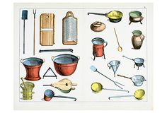 Hand-colored lithograph Plate IV: Household Furniture and Utensils from The Instructive Picture Book by Adam White and Robert M. Stark. Edinburgh: Edmonston and Douglas, 1857. Unframed.