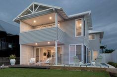 Dulux Milton Moon walls and Colorbond Surfmist roof, gutters etc Dulux Exterior Paint, White Exterior Paint, Exterior Color Palette, House Exterior Color Schemes, Exterior Wall Cladding, House Cladding, Grey Exterior, House Paint Exterior, Exterior Paint Colors
