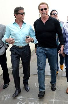 Friends Sylvester Stallone and Arnold Schwarzenegger grab lunch in Hollywood on Sunday, May 10.