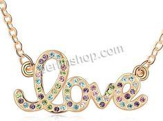 Zinklegierung Schmuck Halskette, mit Messingkette, Buchstabe, vergoldet, Oval-Kette & mit tschechischem Strass, gemischte Farben, frei von N...