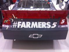 Pic of the Farmers Insurance hashtag on Kasey Kahne's car