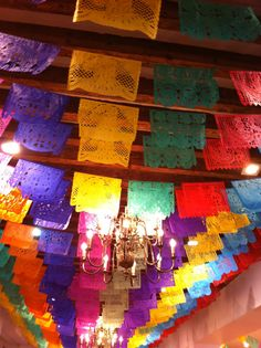 Colorful papel picado, lightens up  any party. Hang cables or rods in hallways and above gathering areas and hang all sorts of colorful decorations.