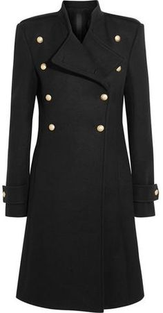 Black Double-Breasted Wool Blend Coat