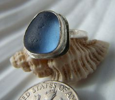 Handmade Sterling silver and sea glass ring by BeeCreativeCraftsUK, £18.00