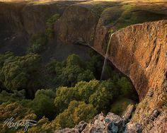 Phantom Falls waterfall photograph on North Table Mountain near Oroville, California at sunset, by Matt Tilghman by mattt513