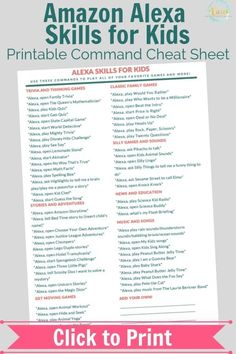 The ultimate list of Alexa skills for kids! Plus, print the free cheat sheet that kids can read and use the Alexa commands to play games, music and more. Family Games, Games For Kids, Activities For Kids, Music Activities, Family Kids, Rainbow Dash, Funny Alexa Commands, Alexa Tricks, Amazon Alexa Skills