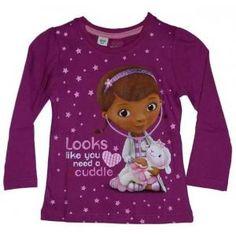 T-shirt Docteur La Peluche manches longues avec son amie Caline - couleur violet