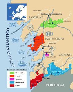Subzones of Wines of the Rías Baixas Wine Poster, Wine Education, Spanish Wine, Vitis Vinifera, In Vino Veritas, Wine Making, Wine Drinks, Wine Country, Wine Recipes