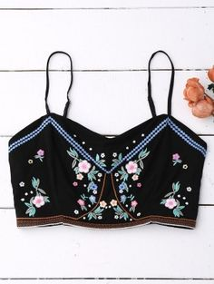 Floral Embroidered Smocked Cropped Tank Top - Black