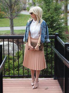 Blush Accordion Skirt, White blouse, denim jacket, animal print clutch, metallic strappy heels