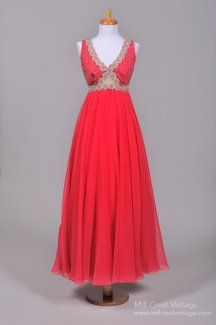 1970's Mike Benet Deep Pink Chiffon Formal Vintage Evening Gown