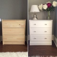 Ikea rast hack. Bedside table. DIY. Farrow and Ball. White Company