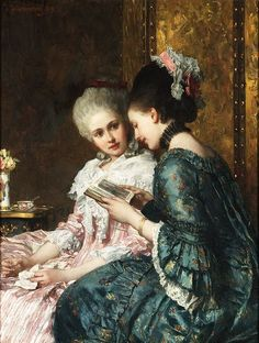 A Shared Moment Joseph Scheurenberg (German, Oil on panel. Scheurenberg was a portrait, genre and history painter. He was a student at the Art Academy in Dusseldorf. From 1863 to. Renaissance Paintings, Renaissance Art, Art Lesbien, Bel Art, Art Ancien, Lesbian Art, Woman Reading, Art Academy, Classical Art