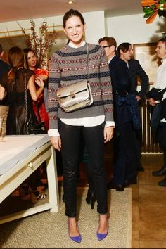 Jenna Lyons in J.Crew men's fair isle sweater and a Celine silver Box bag.