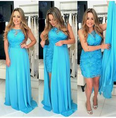 Blue Lace Prom Dress with Attachable Skirt