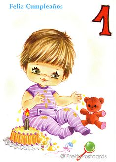 Vintage Birthday Card For A Big Eyed Baby 1 Year Old