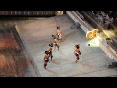 Xcaret - Pok-ta-Pok. Mayan ball sport. That crazy high stakes game with the hard rubber ball, the hips, and ring (and beheaded loser).   Juego de Pelota. Pok-ta-Pok. Se golpea la pelota de hule con las caderas hasta que pasa por el centro del anillo. Los ganadores son decapitados como premio.