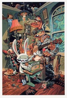 steve purcell Sam and Max. Day Of The Tentacle, Game Concept Art, Geek Art, Character Design References, Video Game Art, Comic Artist, Comic Books Art, Art Inspo, Cool Art