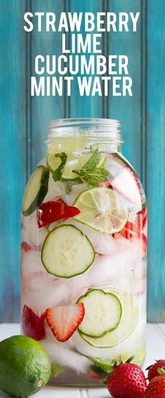 Jazz up your daily hydration with this strawberry, lime, cucumber, and mint infused water. It is refreshing and bright, with just a touch of sweetness!