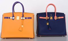 MUST C Hermes BIRKIN Special Order HSS 35cm JAUNE / VIOLET GHW | From a collection of rare vintage handbags and purses at https://www.1stdibs.com/fashion/accessories/handbags-purses/