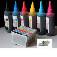 Compatible refillable Pre-filled 98 988 ink cartridge Plus 6x100ml ink bottles