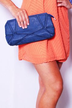 Geometric Patterned Suede Clutch orange and blue outfits