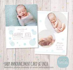 Pasgeboren geboorte aankondiging - Baby Boy Card - Photoshop kaartsjabloon - AN005 - INSTANT DOWNLOAD