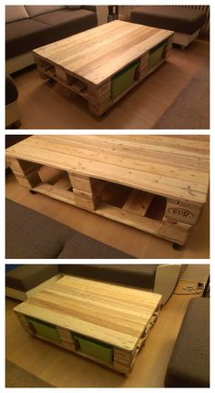 Pallet Coffee Table #CoffeeTable, #Drawers, #RecycledPallet, #Toys