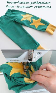 Vinkkejä paikkaamiseen.  Ompele pyöreä polvipaikka pahvisapluunan avulla. Pocket, Bags