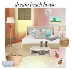 """beach bum dream"" by pagebypaige99 ❤ liked on Polyvore featuring interior, interiors, interior design, home, home decor, interior decorating, Godinger, Pottery Barn, Stylecraft and AERIN"