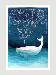 "Print Whale illustration nautical wall decor nursery art by artist AGATKA of ""VApinx"" Etsy store"