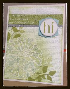 SU! Dictionary Dahlia - love all the overlaid techniques - stamping, embossing, coloring, sponging, masking & stamping...