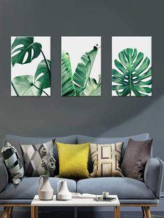 Tropical Leaves Cloth Wall Art – Creations of Paradise LLC Leaf Wall Art, Leaf Art, Home Decor Wall Art, Living Room Decor, Canvas Art Prints, Canvas Wall Art, Canvas Poster, Poster Prints, Plant Painting