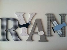 Airplane themed wooden letters to match Pottery Barn Flying friends bedding
