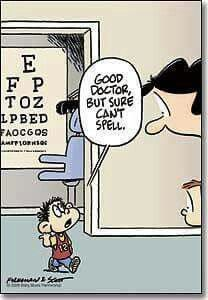 Eye doctor can't spell