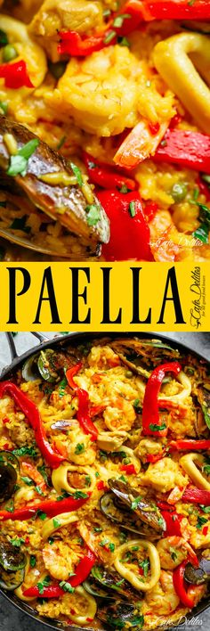 This Classic Spanish Paella rivals any restaurant paella! A classic Paella with traditional flavours, the most popular dish out of Spain! Fish Recipes, Seafood Recipes, Mexican Food Recipes, Dinner Recipes, Cooking Recipes, Healthy Recipes, Recipies, Meal Recipes, What's Cooking