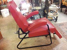 1960s retro red tattooist barbers dentist industrial reclining chair