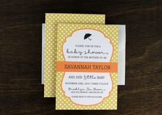 Baby Shower Invitation Yellow Polka Dots by Paperelli
