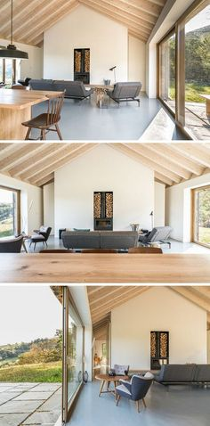 modernes wohnzimmer eingebauter kamin brennholz lagerung wandnische #natural #stone #facade