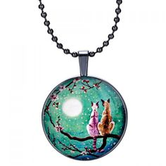 Charming Kitten Moon Pattern Beads Necklace For Women #CLICK! #clothing, #shoes, #jewelry, #women, #men, #hats, #watches
